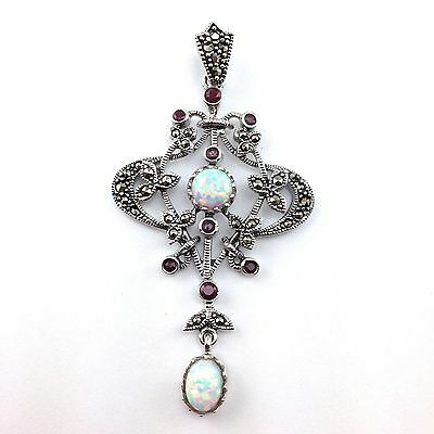 Stunning Art Nouveau White Opal Ruby & Marcasite Pendant 925 Sterling Silver