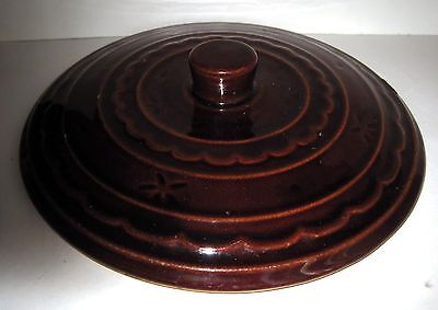 Marcrest Casserole Replacement Lid Brown Glazed Pottery Raised Design