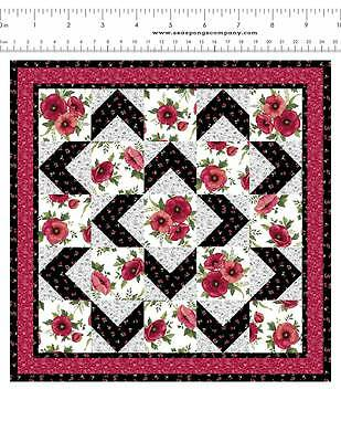 Dollhouse Miniature Black & Rose Patchwork Quilt Top Computer Printed Fabric