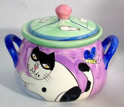 Ceramic Decorative Container Dish Canister Lid Cat Mice Hand Painted Kitchen