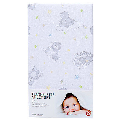 Target Teddy Grey And White Teddy Bears And Stars Flannelette Cot Sheet Set New