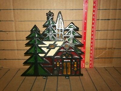 Vintage cast stained glass Christmas candle holder house