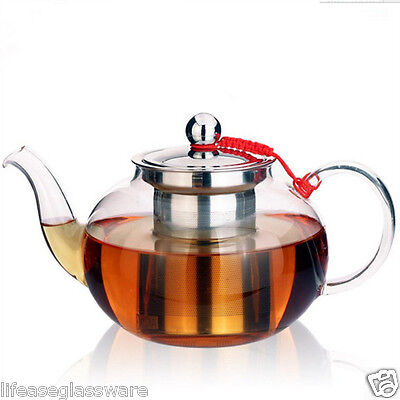 Handmade Pyrex Glass TEA POT Teapot with Stainless Steel Infuser & Lid 0.4L~1.0L