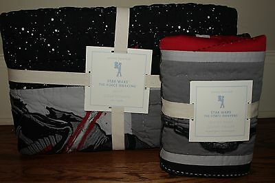 NWT Pottery Barn Kids Star Wars The Force Awakens twin quilt & euro sham