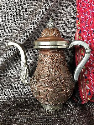 Old Tibetan Ornate Copper Pitcher …beautifully made with lots of detail