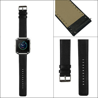 Replacement Genuine Leather Strap Watch Band for Fitbit Blaze Smart Watch- Black