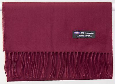 Free Shipping 100% Cashmere Solid Wine Red Scarf Made in Scotland Wool Wrap Men