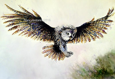 LARGE A3 Print of my Original Watercolour Painting ..DARK OWL.. Nancy Antoni