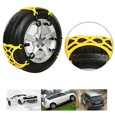 Car Vehicle Truck Off-Road SUV Safe Snow Tire Wheel Chain Anti-skid Belt -Yellow