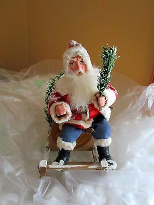 Rare antique Candy Container with Santa Claus on  sledge -handmade -Germany