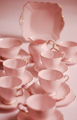 Tuscan pink Tea cup saucer tea plate trio English vintage China High Tea Party