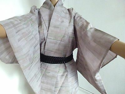 Authentic Japanese grey summer kimono for women, good condition (I762)