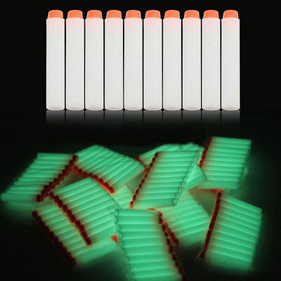 Lot 100pc White Glow Foam Dart Bullet Round Head - NERF N-Strike Compatable