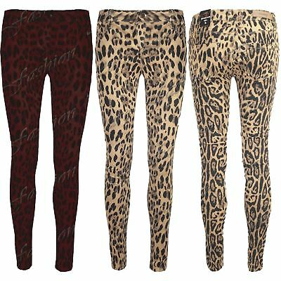 Womens Ladies Super Skinny Fit Animal Leopard Stretch Trousers Pants Jeans Size