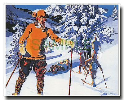 Skiing and tobogganing scene framed repro poster