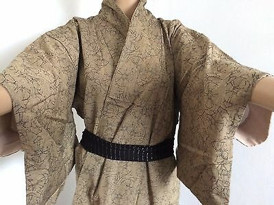 Authentic Japanese light brown linen kimono for women, Japan import (G765)