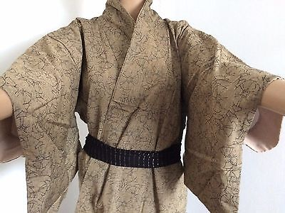 Authentic Japanese light brown wool kimono for women, Japan import (G765)