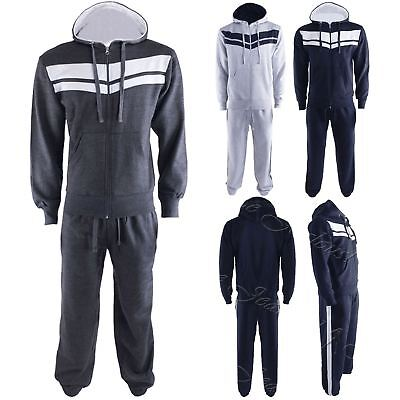 Kids Boys Girls Jogging Gym Stripes Running Zipped Hoodie Sweatpants Tracksuit