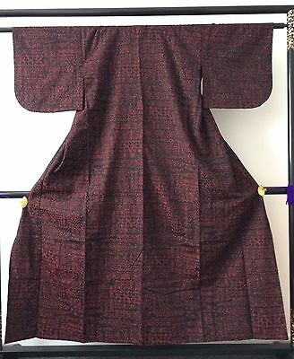 Vintage authentic Japanese wool kimono for women, black & red, flowers (G766)