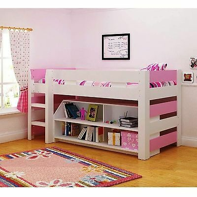Girls Pink and White Seconique Lollipop Bunk Bed, Kids Mid Sleeper and Storage