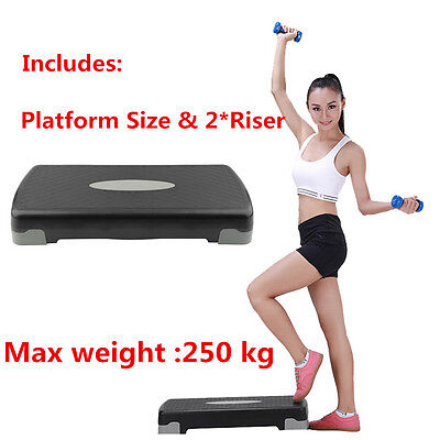 Aerobic Step Fitness Board Exercise Stepper Platform GYM Block & 2 X risers SY