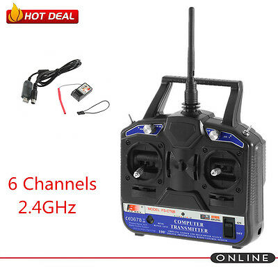 FLY SKY 2.4G FS-CT6B 6 CH Channel Radio Model RC Transmitter Receiver Control UK