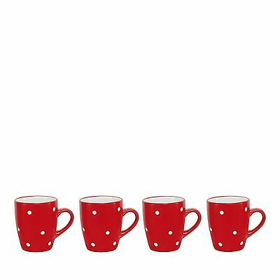 Home Collection Set Of 4 Red And White Spot Stoneware Mugs From Debenhams