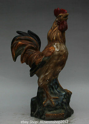 """16"""" Chinese Folk Wu Colour Porcelain Pottery Rooster Cock Shout Stand Statue"""