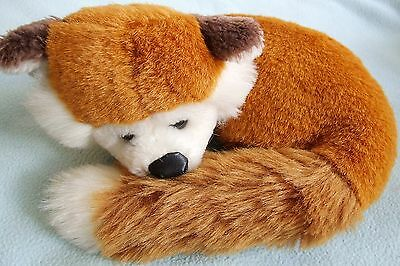 Adorable Curled Up Sleeping FOX Plush Toy - In Very Good Condition