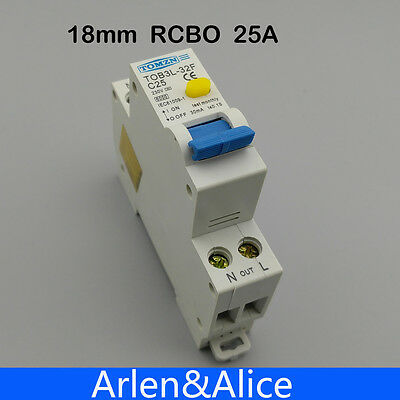 TOB3L-32F 18MM RCBO 25A 1P+N 6KA Residual current Circuit breaker
