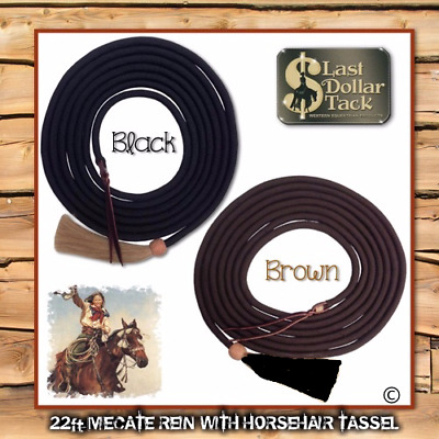 Western Mecate Rein For Bosal ~ 21Ft With Leather Popper & Horse Hair Tassel