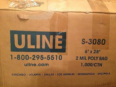 ULINE S-3080 6x28 2 Mil Clear Poly Bags Qty 500 Partial Case