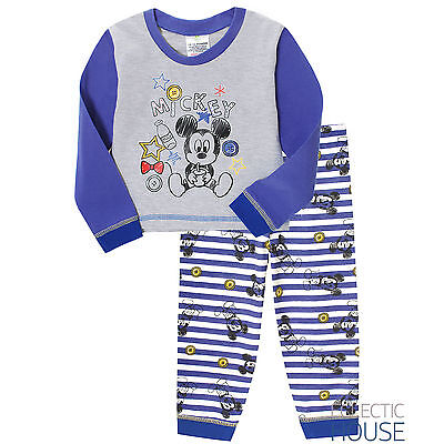 BABY BOY Disney Mickey Mouse Character Pyjamas Cotton Long PJ Set Nightwear