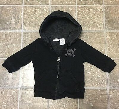 Amy Coe Todddler Boys Black/Gray Fleece-lined Hoodie Jacket Skull (12M)
