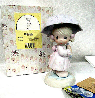 Precious Moments~APRIL~Young Girl with Umbrella~April Showers Rain~IN BOX~NICE!!