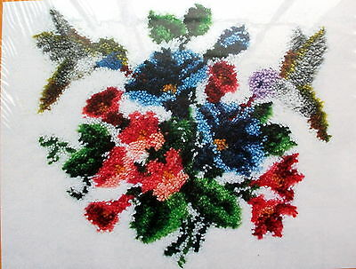"Mcg Textiles Bird Latch Hook   Rug  Kit "" Hummingbird Floral Rug"""