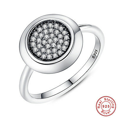 Authentic S925 Sterling Silver Sparkling CZ Crystal Ring Women Jewelry Size 7/8
