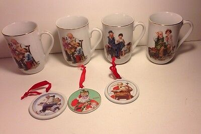 Norman Rockwell Vintage Ceramic 4 Mugs  Collectibles & 3 Christmas Ornaments Lot