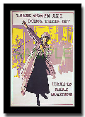 Women Doing Their Bit Munitions WW1 framed poster repro Septimus E Scott