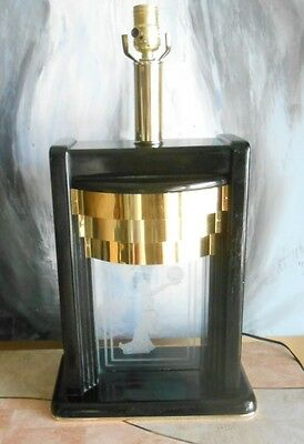Unusual Mid-century/ 80's lacquered wood, Etched glass table Lamp