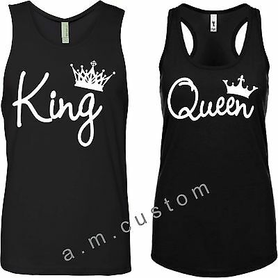 King and Queen NEXT LEVEL TANK TOP Couple matching funny cute TANK