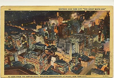 Vintage 1930's Post Card-Midtown, New York City-Not Posted