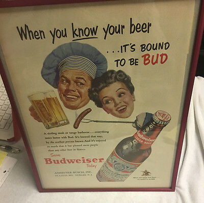 Original 1953 Life Magazine Budwiser Advertisement, Framed