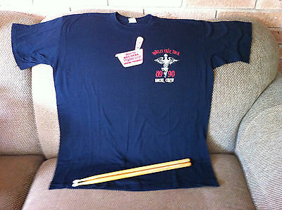 Rare Motley Crew Dr Feel Good Tour Local Crew Tshirt and Pass and drumsticks