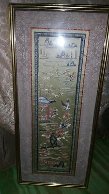 Vintage Chinese LARGE Silk Panel - Gold Thread, Embroidery Fine Detail, Framed
