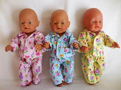 """Baby Born 17""""  Dolls Clothes Pink, Blue Or Yellow Pyjama's With Bees And Flowers"""