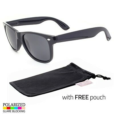 Polarized Fashion Sunglasses Retro Glasses Vintage Frame Fashion Black POUCH