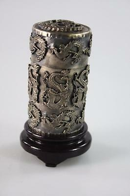 CHINESE VINTAGE SILVER LIDDED BOX DRAGON EMBELLISHMENT w/ STAND MARKED