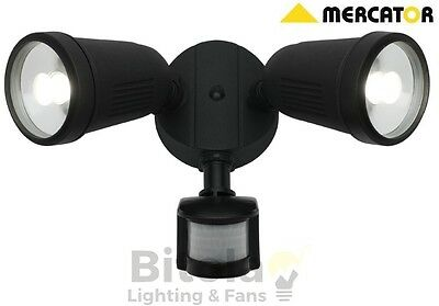 MERCATOR OTTO BLACK 24w LED OUTDOOR TWIN SPOT FLOOD LIGHT SECURITY SENSOR 2x12W