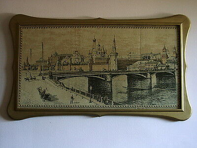 Rare Huge French tapestry,Moscow River, Kremlin c.1900 Moscou